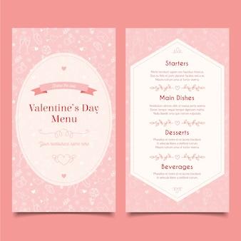 Sjabloon handgetekende valentijnsdag menu