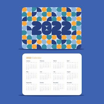 Sjabloon horizontale ontwerp zakkalender 2022 met kleurrijk geometrisch abstract patroon