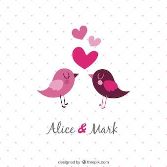 Sjabloon huwelijksuitnodiging met vogels