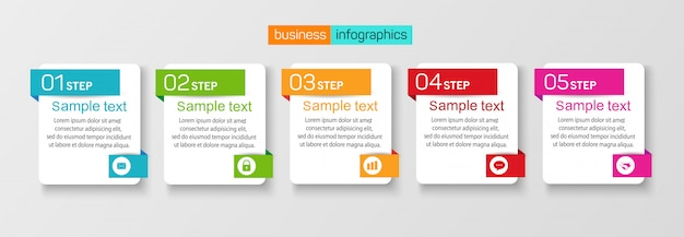 Sjabloon infographic set met 5 opties
