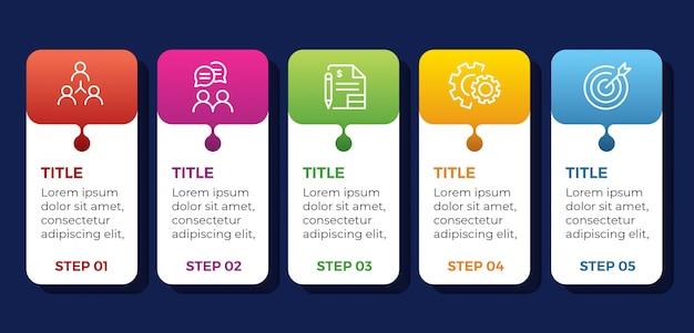Sjabloon infographics met stappen en opties