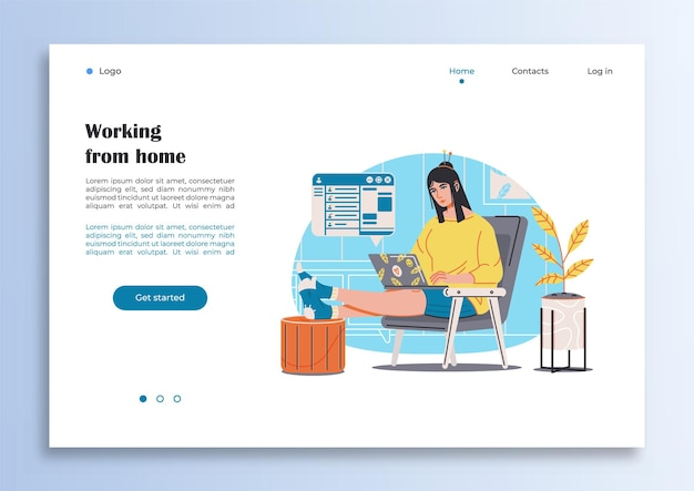 Sjabloon internetpagina met een meisje dat thuis werkt