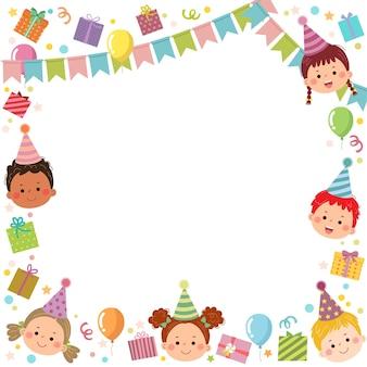 Sjabloon is klaar voor uitnodiging of verjaardagsfeestje kaart met kinderen en geschenkdozen.