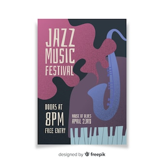 Sjabloon jazz abstract hand getekende poster