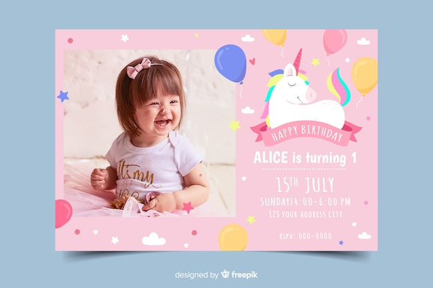 Sjabloon kinderen verjaardagsuitnodiging met foto