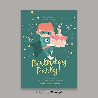 Sjabloon kinderen verjaardagsuitnodiging
