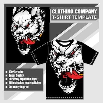Sjabloon kledingbedrijf, t-shirt sjabloon, wolf illustratie