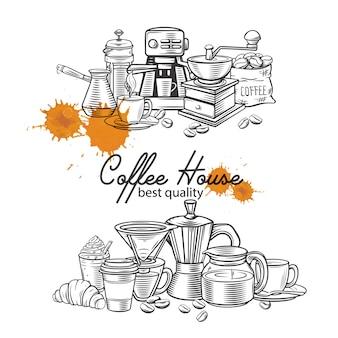 Sjabloon koffie spandoekpagina