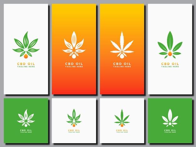 Sjabloon logo decorontwerp cannabis olie gezondheid