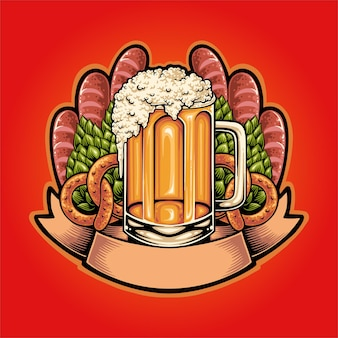 Sjabloon logo illustratie voor oktoberfest