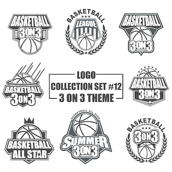 Sjabloon logo verzameling ingesteld voor basketbal sport