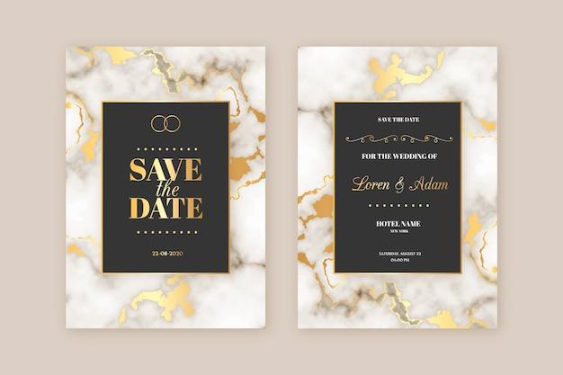 Sjabloon marmeren elegante bruiloft uitnodiging