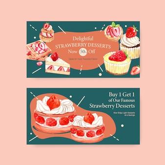 Sjabloon met aardbeien bakken ontwerp sociale media, online community en internet aquarel illustratie