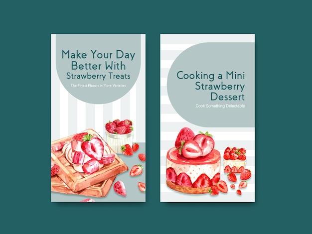 Sjabloon met aardbeien bakken ontwerp voor sociale media, online community met wafels en cheesecake aquarel illustratie
