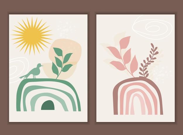 Sjabloon met abstracte compositie van regenboog en botanische boho-elementen