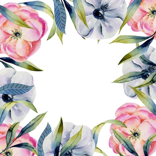Sjabloon met aquarel roze en paarse anemonen en groene kruiden