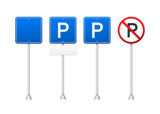 Sjabloon met blauwe parkeerplaats. . parkeren op witte achtergrond. webelement. illustratie.