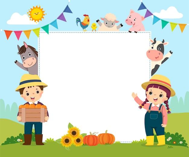 Sjabloon met cartoon van boerenkinderen en boerderijdieren.