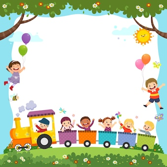 Sjabloon met cartoon van gelukkige kinderen in de trein.