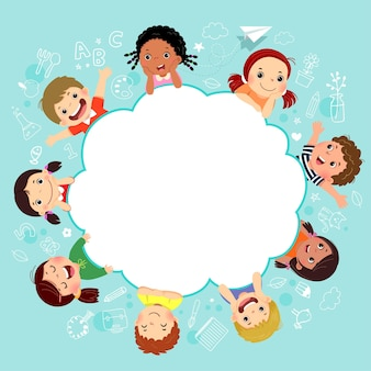 Sjabloon met cartoon van gelukkige kinderen met onderwijs concept.
