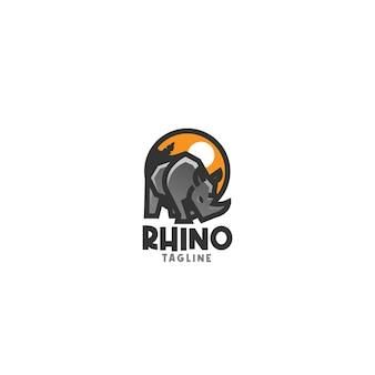 Sjabloon met eenvoudig logo van neushoorn