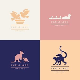 Sjabloon met familie van dieren logo