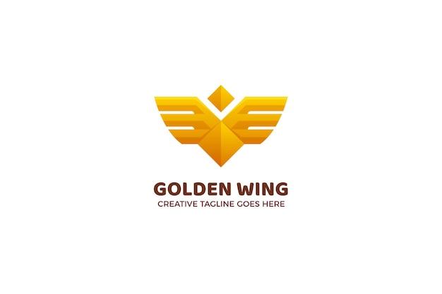 Sjabloon met gouden vleugel luxe bedrijfslogo