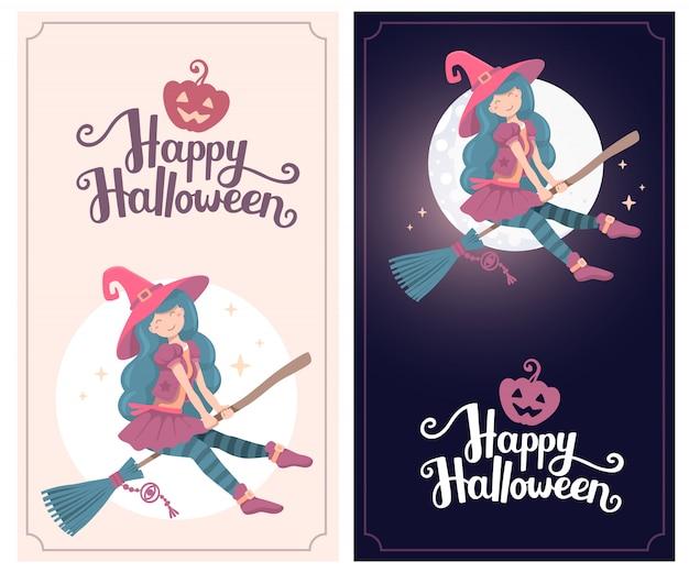 Sjabloon met halloween illustratie van heks karakter vliegen op een bezemsteel