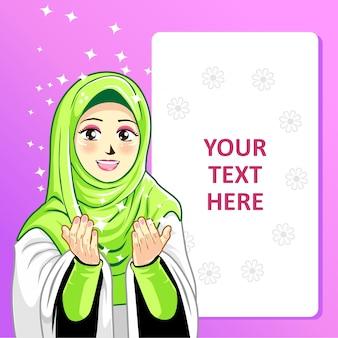 Sjabloon met hijab-meisje