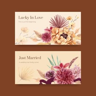 Sjabloon met huwelijksceremonie conceptontwerp voor sociale media aquarel illustratie