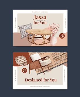 Sjabloon met jassa meubels conceptontwerp voor sociale media en online marketing aquarel vectorillustratie