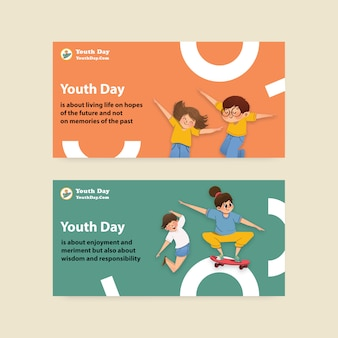 Sjabloon met jeugddag ontwerp voor internationale jeugddag, sociale media, aquarel