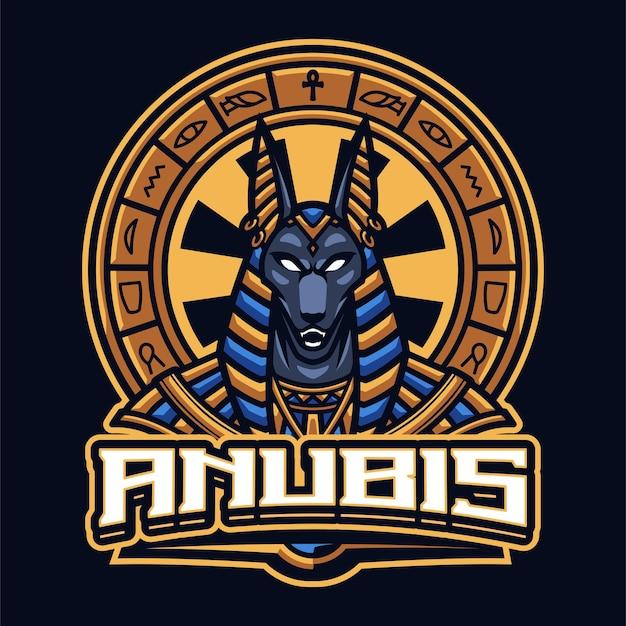 Sjabloon met logo voor anubis mascotte