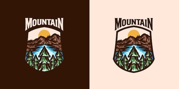 Sjabloon met logo voor bergavontuur embleem