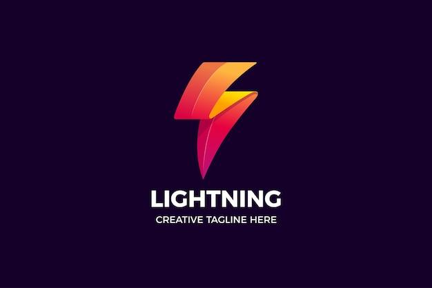 Sjabloon met logo voor bliksemkracht energie kleurovergang