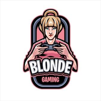 Sjabloon met logo voor blonde gaming-mascotte