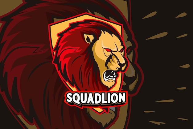 Sjabloon met logo voor boos leeuw e sportteam
