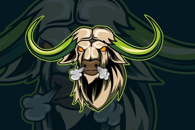 Sjabloon met logo voor bull e-sports team