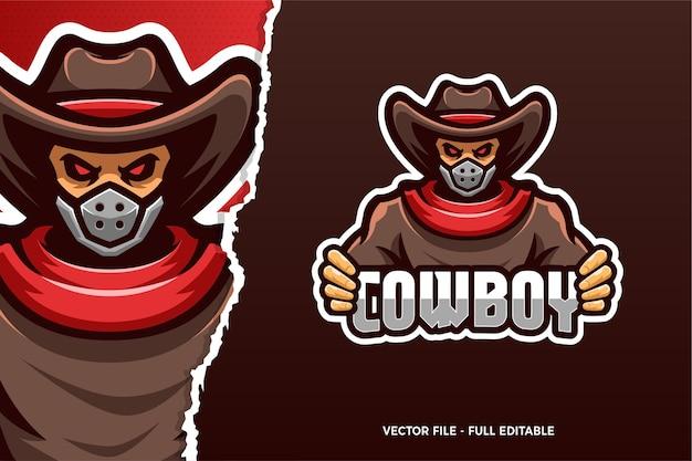 Sjabloon met logo voor cowboy esports-spel