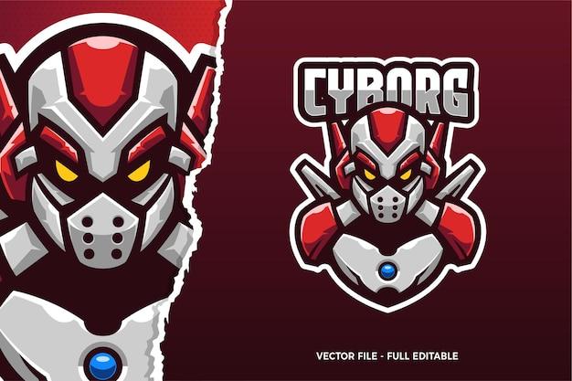 Sjabloon met logo voor cyborg robot e-sport game