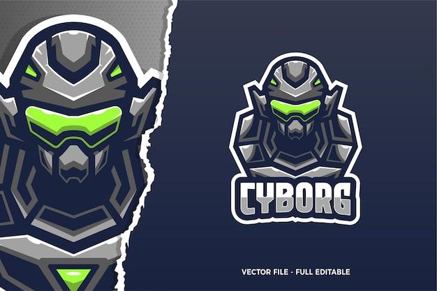 Sjabloon met logo voor cyborg soldaat e-sport game
