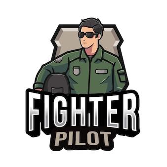 Sjabloon met logo voor fighter pilot