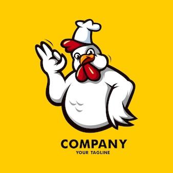 Sjabloon met logo voor gebakken kip restaurant mascotte