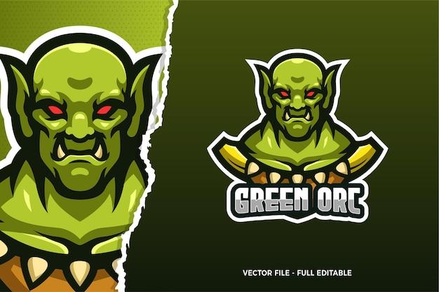 Sjabloon met logo voor giant orc e-sport game