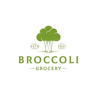 Sjabloon met logo voor groene broccoli veganistisch restaurant