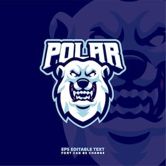 Sjabloon met logo voor ijsbeer mascotte
