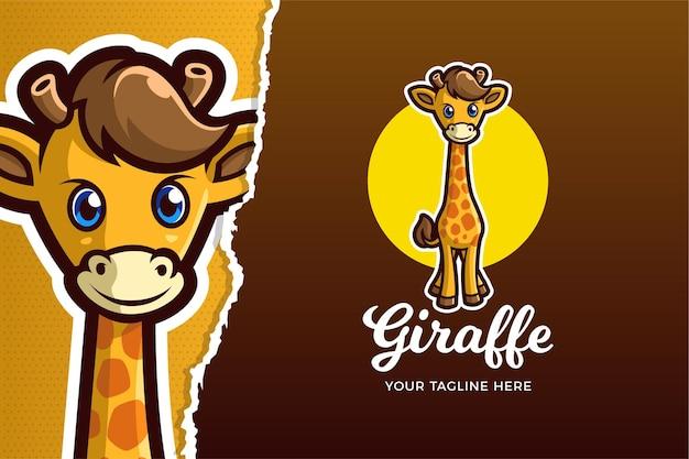 Sjabloon met logo voor kleine giraf e-sports game