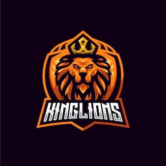 Sjabloon met logo voor koning leeuw esport