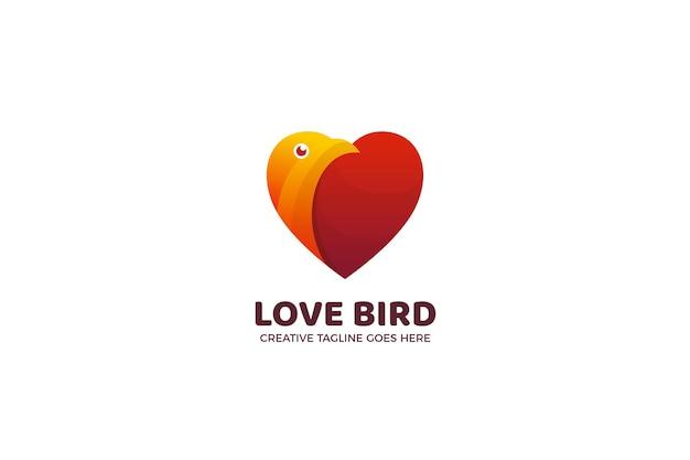 Sjabloon met logo voor liefdesvogelpaar