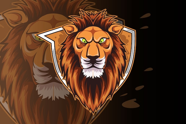 Sjabloon met logo voor lion e-sports team